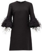 Valentino Cropped-sleeve Feather-trimmed Wool-blend Dress - Womens - Black