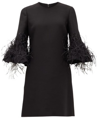 Valentino Cropped-sleeve Feather-trimmed Wool-blend Dress - Black