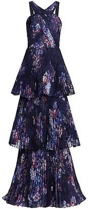 Marchesa Notte Halter Pleated Chiffon Gown