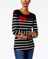 Charter Club Striped Beaded Bow Top, Only at Macy's