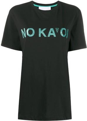 NO KA 'OI glitter logo print T-shirt