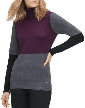 Calvin Klein Color-Block Turtleneck Sweater