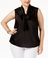 Nine West Plus Size Tie-Neck Top