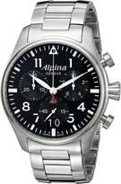 Alpina Men's AL-372B4S6B Startimer Pilot Chronograph Big Date Analog Display Swiss Quartz Silver-Tone Watch