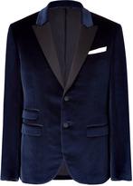 Neil Barrett Royal Blue Velvet Tuxedo Blazer