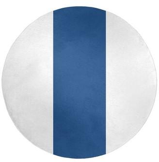 East Urban Home Kansas Flatweave White/Royal Blue Rug Rug Size: Round 5'