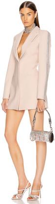 Area Crystal Stripe Blazer Dress in Nude | FWRD