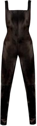 Saint Laurent Brown Leather Jumpsuit for Women
