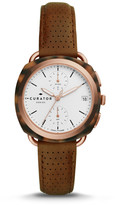 Fossil The Curator Series x Amber Interiors Multifunction Brown Leather Watch