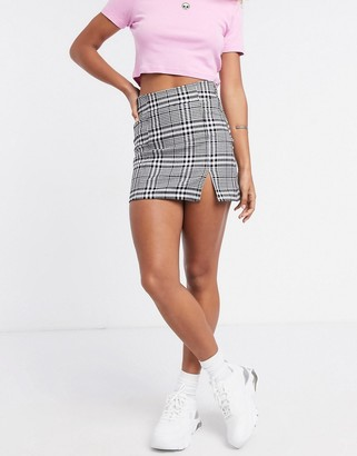 Bershka check mini skirt with slit in monochrome