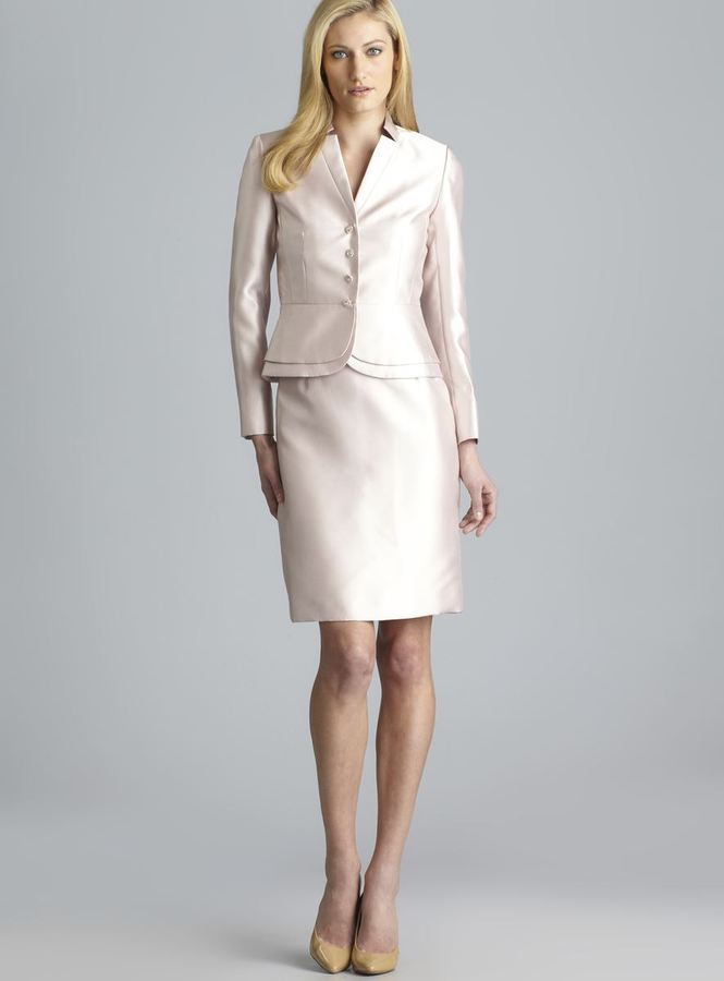 Tahari Notch Lapel Embellished Button Skirt Suit