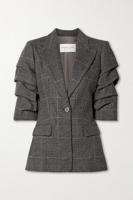Michael Kors Collection Gathered Houndsooth Wool-blend Blazer - Dark gray