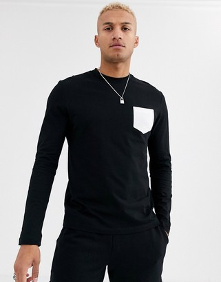 Asos Design DESIGN long sleeve t-shirt with contrast pocket in black