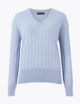Marks and Spencer Ribbed V-Neck Relaxed Jumper