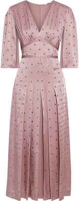 Fendi Embellished Pleated Satin-crepe Midi Dress