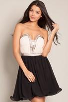 Little Mistress Black & Cream Embellished Prom Dress