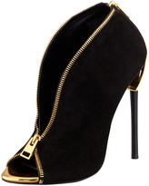 Tom Ford Zipper-Heel Suede Zip-Front Bootie