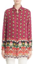 Etro Ikat Paisley High/Low Silk Blouse