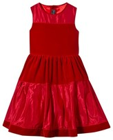 Oscar de la Renta Red Velvet and Taffeta Sleeveless Dress
