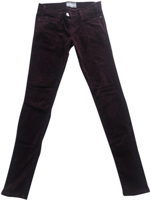 Current/Elliott Current Elliott Burgundy Velvet Trousers