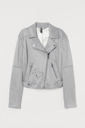 H&M Faux Suede Biker Jacket - Gray