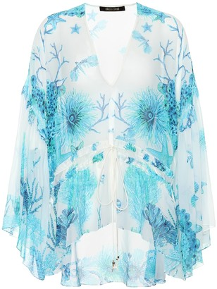 Roberto Cavalli Floral-printed silk top