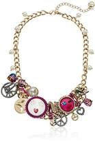 "Betsey Johnson Harlem Multi-Charm and Pearl Frontal Necklace, 17"" + 3"" Extender"