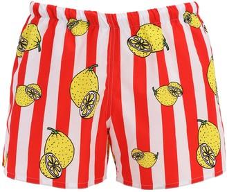 Stripes & Lemon Print Tech Swim Shorts