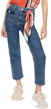 Maje Plaisir High-Rise Straight-Leg Jeans in Blue