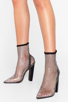 Nasty Gal Womens Break the Ice Diamante Ankle Boots - Black