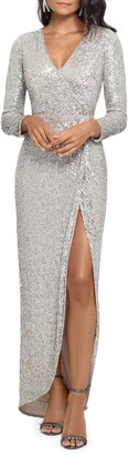 Xscape Evenings Long Sleeve Sequin Gown