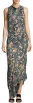 Haute Hippie Cecilia Floral Print Silk Maxi Dress, Gray-Multi