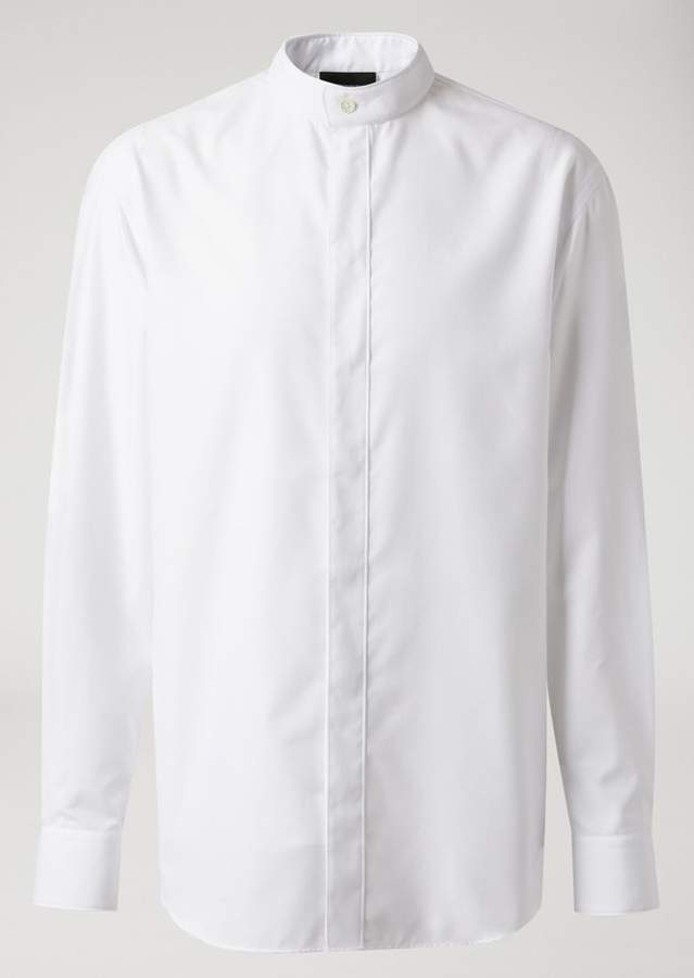 Emporio Armani Jacquard Cotton Shirt With Mandarin Collar