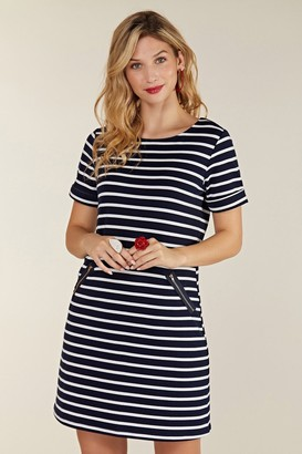 Yumi Nautical Navy Stripe Zip Pocket Tunic