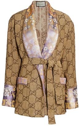 Gucci GG Jacquard Linen Oversized Robe Jacket