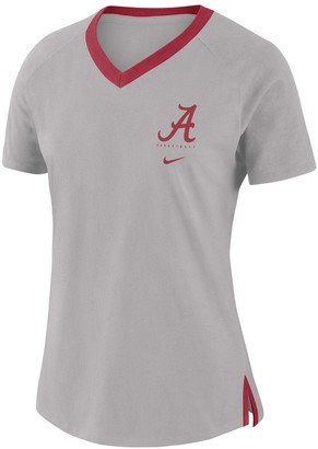 Nike Women's Gray Alabama Crimson Tide Banded Fan Performance Tri-Blend V-Neck T-Shirt