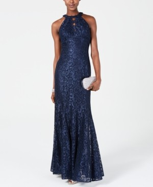 R & M Richards Nightway Lace Keyhole-Cutout Gown