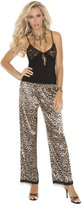 Elegant Moments Women's Naomi Cami Top with Lace Cups and Charmeuse Print Pants
