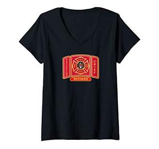 Womens FIREFIGHTER CROSS RETIRED BATTALION CHIEF V-Neck T-Shirt