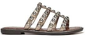 33d3bc3584fd Sam Edelman Women s Glen Studded Metallic Leather Slides Sandals