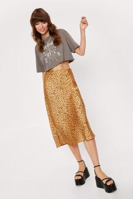 Nasty Gal Womens Spot a Chance Satin Midi Skirt - Gold