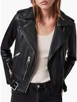 AllSaints Leather Balfern Biker Jacket, Black
