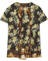 Etro Pussy-Bow Printed Silk-Blend Jacquard Top