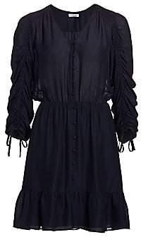 Parker Women's Fletcher Ruched Three-Quarter Sleeve Ruffle Dress