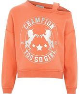 River Island Girls Orange unicorn one shoulder sweatshirt