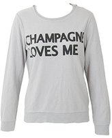 Chaser Women's Champagne Loves Me Graphic Sweatshirt