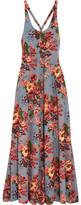 Emilia Wickstead Viola Floral-print Stretch-crepe Maxi Dress - Blue