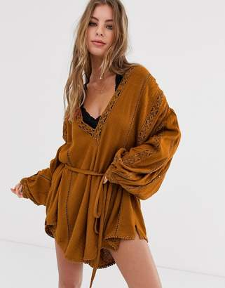Free People I Mean It embroidered playsuit-Orange