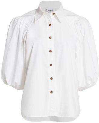 Ganni Puff-Sleeve Cotton Poplin Top