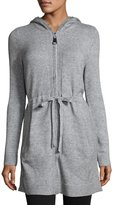 Neiman Marcus Hooded Mid-Length Zip-Front Jacket, Light Gray